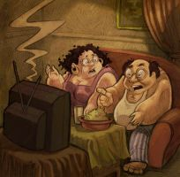 Fat guys watching TV by 3Ali