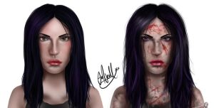 Celine Facial Concepts - Normal and Void versions by Mojo-Smileyface