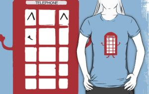 Telephone box doodle T-shirt by zozzy-zebra
