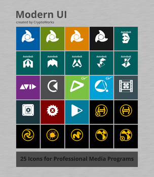 Modern UI 25 Icons for Professional Media Programs by CryptoWorks