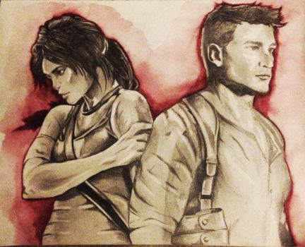 Lara Croft and Nathan Drake (unfinished) by grapeninja