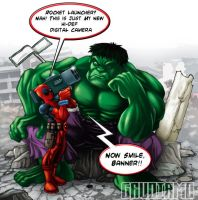 Deadpool vs. Hulk fan art by gaudiamo