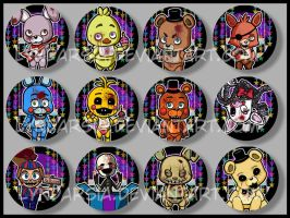Five Nights at Freddy's Buttons by Lyndarsia