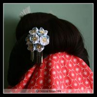 Blue and White Hana Kanzashi by Kurokami-Kanzashi