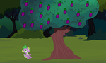 Spike Finds the Fireout Fruit Tree by Eli-J-Brony