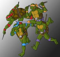 TMNT Group Running by pedlag