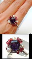 Amethyst + Garnet wired ring by CrysallisCreations