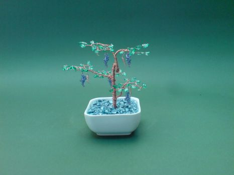 Bonsai Wire Tree Sculpture Beaded Grape Gems by sinisaart