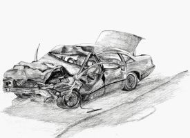 Crashed car by Koxy911