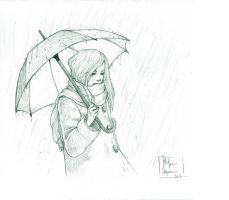 Rainy Day - pencil by darkredrose