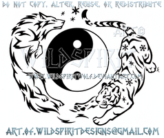 Electric Wolf And Flurry Tiger - Yin Yang Design by WildSpiritWolf