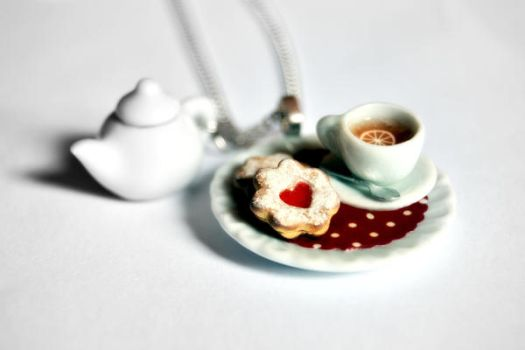 Food Necklace Tea Cup Teapot by Alusaf