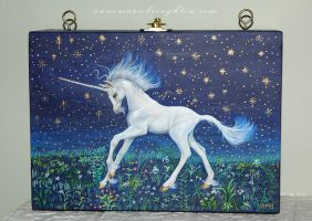 Unicorn wood box purse work in progress by Mocten