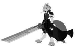 Cloud Strife Anthro Wolf by GunZcon