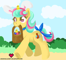 Giggle Bean the Easter pony by ladypixelheart