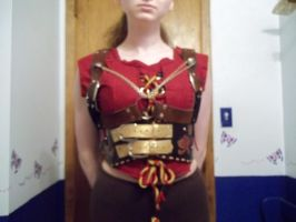 Corset top with steampunk harnesses by Ceraine