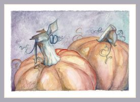 Pumpkins - watercolor by charfade
