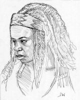 Michonne from The Walking Dead Sketch Card by Stungeon