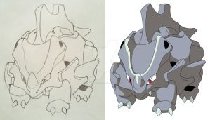 Rhyhorn drawing and vector by mondecolore