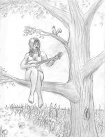 Naked Hippie in a Tree by paulrik
