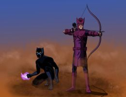 Hawkeye and Black Panther by The-Black-Panther