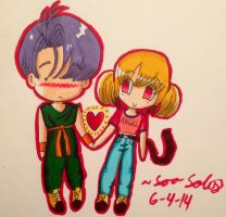 Request: Trunks and Angel Rose as kids ^^ by dbz-senpai