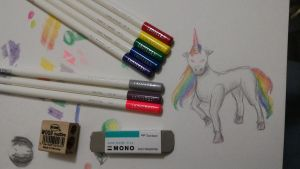 8 Colour Challenge - Rainbow Unicorn by RynnLight