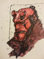 Hellboy Sketch by Graymalkin2112