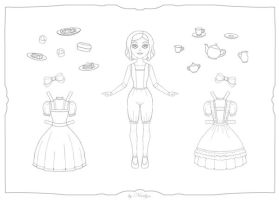 Romantic Tea Party Paperdoll - Coloring Page by Ninelyn