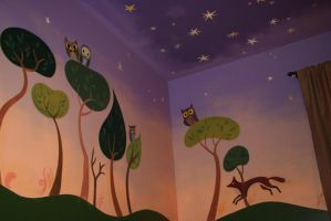 Owl forest wall mural view by Snowboardleopard
