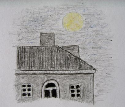 House, night, moon by inktense