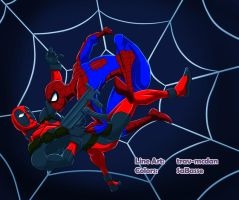 Commission-Collab - Spiderman VS Deadpool by SaBasse