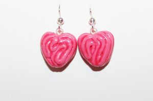 Polymer Clay Intestine Heart Earrings by CharmStop