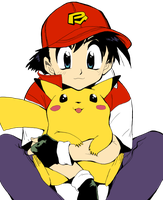 Ash and Pikachu Lineart COLORED by 8i-Emmz-i8