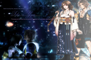 Tidus x Yuna - wallpaper by Ekumimi