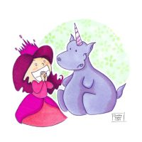 I Want a Unicorn Hippo by crazycat13design