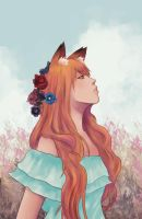 my foxes with flower by araigaki
