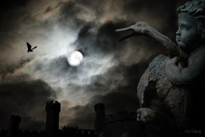 Castle, bat, full moon and creepy statue by Sad-Fantasy