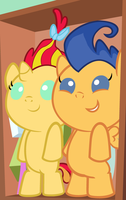 Baby Sunset Shimmer and baby Flash Sentry by 3D4D