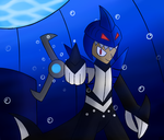 Shark Man Showing His Weapon by SnowmanEX711