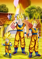 Son Goku And Family by BlackBerriNinja