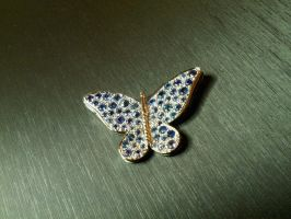 gold butterfly Saphirs by Debals
