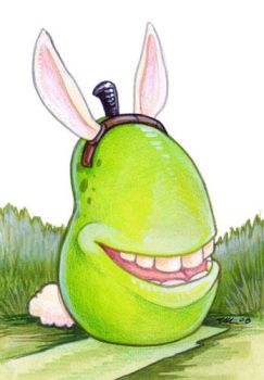 Biting Bunny Pear by ursulav