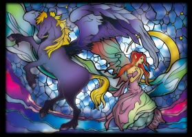 PEGASUS AND FAIRY STAINED GLASS by Takihisa