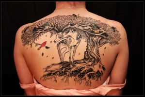 Deer Tree Tattoo by whitneyw