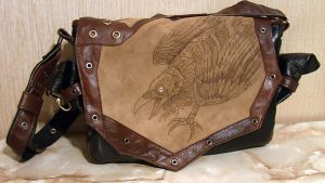 Raven, Steampunk Laptop bag by Ihelen-cat