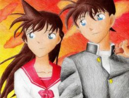 Shinichi and Ran in the Sunset by ajkun