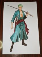 Roronoa Zoro-  One Piece (Painting) by Cane-the-artist