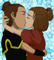 Sokka and Suki Kiss by TophsAwesome