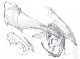 Random dragon sketch by grzanka